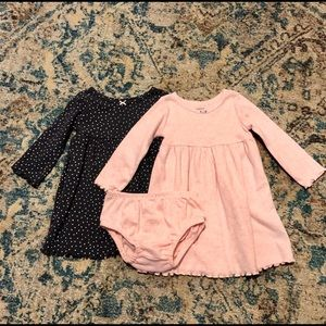 Baby dresses (2) with diaper cover